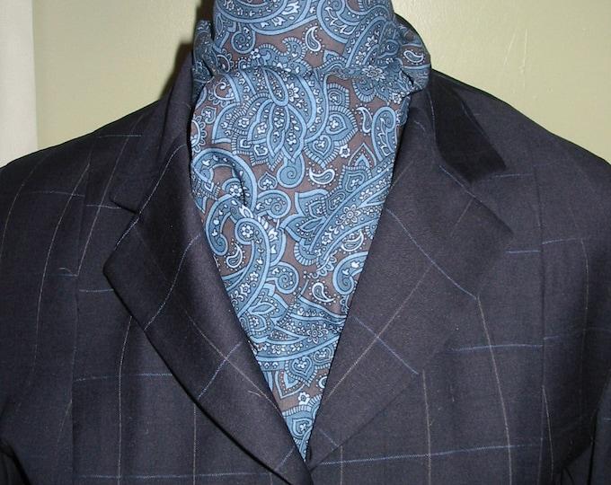 Blue and Chocolate Paisley Stock Tie