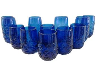 Modern Cobalt Blue Geometric Tumblers, S/12