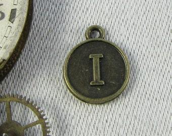 "Bronze Medallion Letter ""I"" Charm, 1 or 5 letters per package ALF012i-BZ"