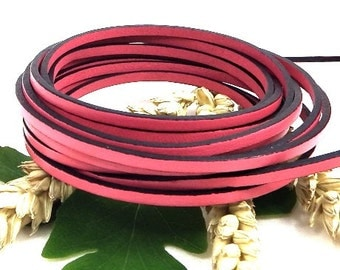 Flat leather pink 3mm by 20cm