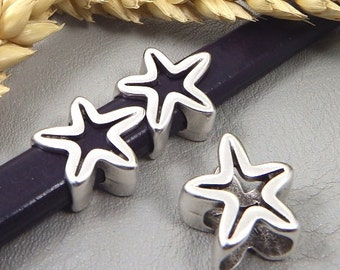 Sliding pearl sea-star silver plated for reglisse leather