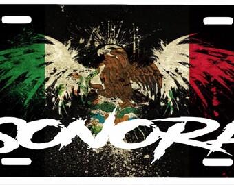 "Sonora  Mexico Aluminum License Plate Placa  6"" x 12"""