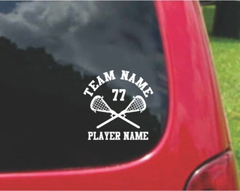 Set Lacrosse Sports Decals with custom text Fundraising  20 Colors To Choose From.  U.S.A Free Shipping