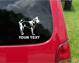 Set (2 Pieces)  Akita Dog  Sticker Decals with custom text 20 Colors To Choose From.  U.S.A Free Shipping