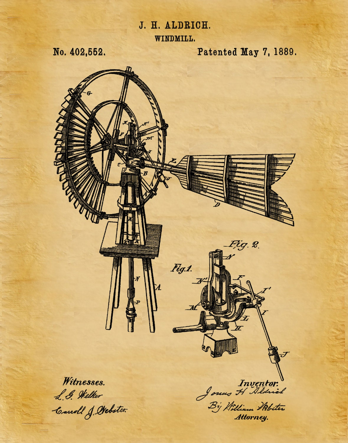 Farm Wall Art patent 1889 windmill - art print poster wall art - farm wall art