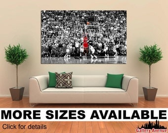 Wall Art Giclee Canvas Picture Print Gallery Wrap Ready to Hang - Michael Jordan Last Shot 48x32 36x24 24x16 18x12 3.2