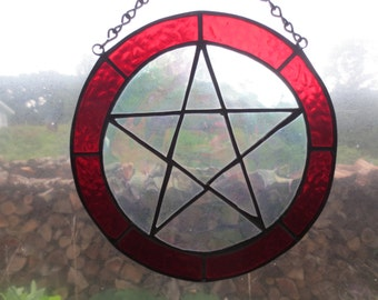 Pentacle Wicca Pagan Witchy Stained Glass Suncatcher