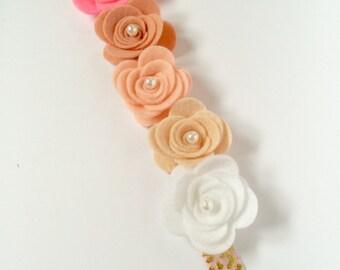 Pink Ombre Felt Flower Crown