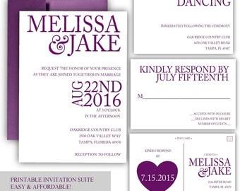 Printable Wedding Invitation - Purple wedding invitation - Eggplant wedding invitation