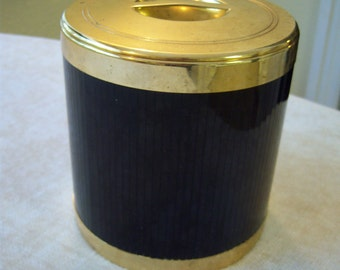 Vintage shiny black and gold Italian ice bucket/Brescia made in Italy ice bucket/Bar ware/Kitchen and dining