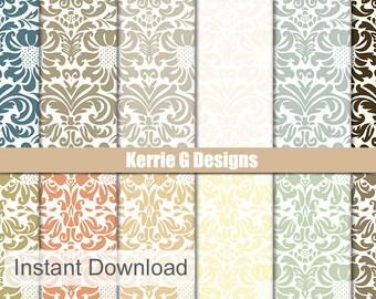 Damask cardstock Paper Digital paperPacks Commercial Use Printable damask patterns Downloadable paper, digital damask patterned paper pack,