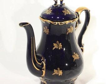 Echt Cobalt, Tea Pot, Coffee Pot, Fine China, Cobalt Blue, 22k Gold, Bavaria China