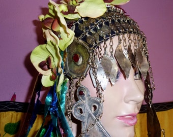 Tribal Header, Tribal Fusion Headpiece, Orchid Hair Piece