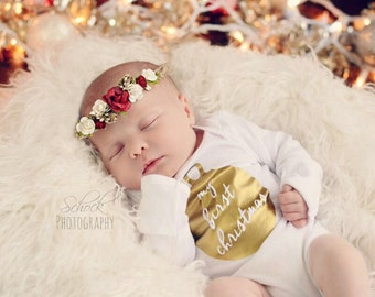 My First Christmas/My First Christmas Bodysuit/Photoshoot Outfit/Photo Prop/Christmas Onesie/Christmas Bodysuit/Christmas