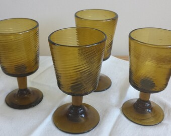 Vintage Mexican Hand Blown Wine Glasses w/ Swirl ~ Set of Four
