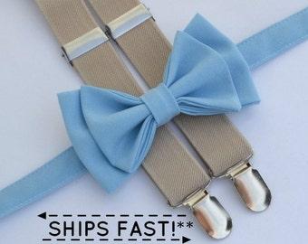 Baby Blue Bow Tie & Tan Suspenders -- Ring Bearer Outfit -- Groomsmen Bow Tie Suspenders