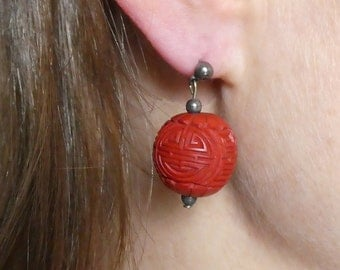 Cinnabar Ball earrings