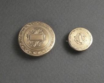 2- Gold filled engraved brooch/pendant c 1850