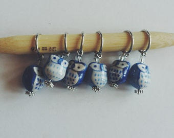 Blue Owl Stitch Markers - Set of 6