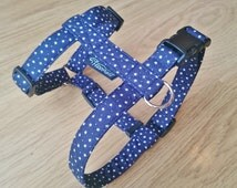 Navy Blue with Small White Stars, Adjustable Dog Harness (traditional style),- Pick Any Fabric in Shop
