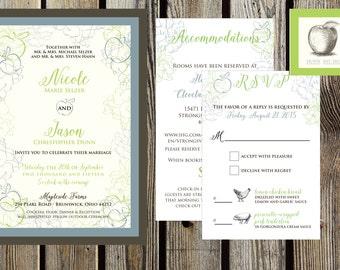 Apple Blossom in Steel Blue and Apple Green Wedding Invitation set
