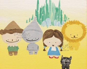 Wizard of Oz Art Print-- Fan Art, Dorm Decor, Home Decor, Nursery, Kid's Room, Kawaii, Dorothy, Toto, Lion, Scarecrow, Tin Man