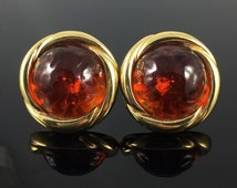 Ciner Earrings, Gripoix Style Glass Red Orange Ember Cabochons, Gold Wrapped Bezel Earrings - Vintage Eighties, Large Chunky Round