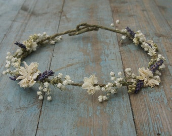 Lavender Twist Baby's Breath Dried Flower Hair Crown