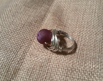 Purple Stone wire wrapped ring #47