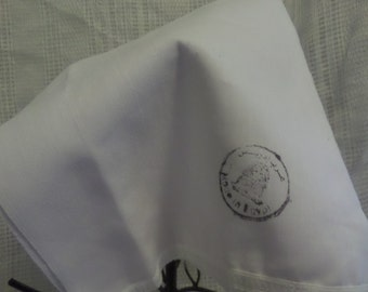 White Muslin cloth handkerchief with ribbon edges- Stamped Made In Egypt