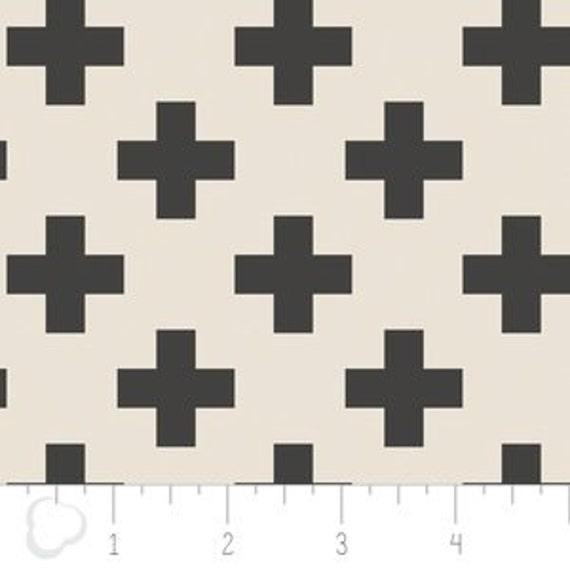 Panel Crib Skirt >> Nordic Cross in Carbon >> MADE-to-ORDER black and white crib skirt, plus crib skirt, black swiss cross crib bedding