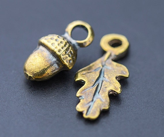 Greek Acorn Beads Acorn Amp Leaf Drop Charms Small Dangle