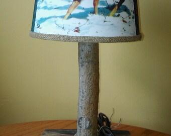 Wooden lamp with deer scene shade