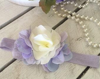 Lavender Blossom Petals Flower Headband for Baby Girl and Flower Girl, Elegant Flower Petals Headband, Lavender Flower Headband