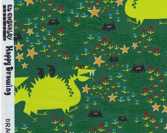Ed Emberley - Happy Drawing for Cloud 9 Fabrics - Dragon in Green