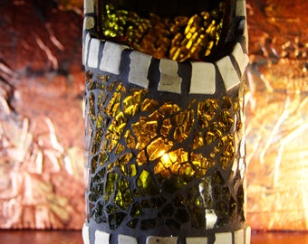 Mosaic candle holder from recycled wine bottle nr.115