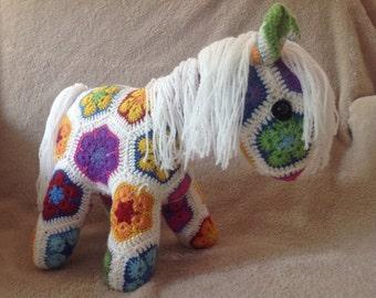 African flower horse / crocheted horse / fatty lumpkin horse