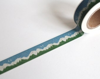 Landscape Washi Tape/ Mountains and Sky  Planner tape/ Blue sky Journal Washi