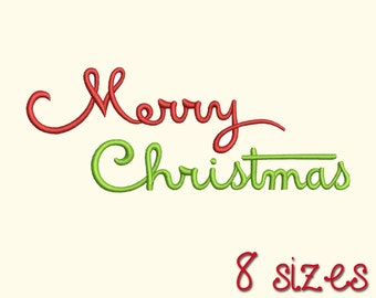 Merry Christmas Embroidery Machine Design, Fill Stitched, 8 Sizes, Digitized Pattern DIGITAL INSTANT DOWNLOAD 168