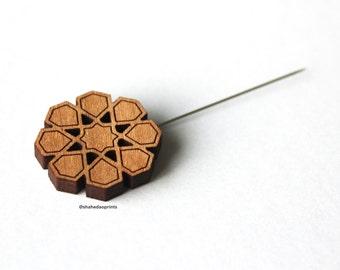 Geometric Wooden Hijab Pin