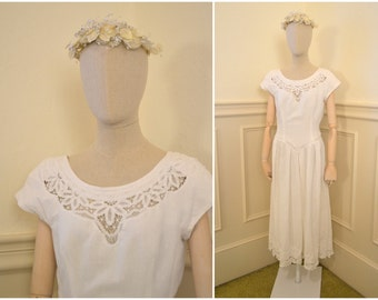 1980s Battenburg Lace and Linen White Dress