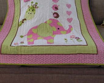 Girls best friends/ Pink elephant/ Baby quilt/ pink and lime green/ gingham
