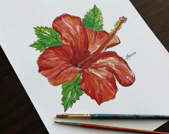 PRINT ~ Watercolour Hibuscus, A4 size (21cm x 29.7cm)