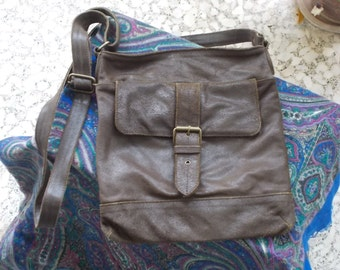 vintage, brown Greek leather handbag from the early 1980s