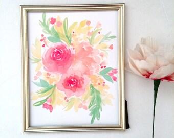 5x7 Spring Floral Watercolor Print// Watercolor Flower Print// Watercolor Floral// Flower Painting