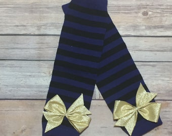 Black and Purple Striped Leg Warmers with Bows | Halloween Leg Warmers | Krafts by Kuties |