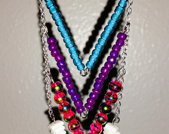 Chevron beaded necklace in four colors! Bright and unique!