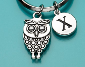 Owl Keychain, Owl Key Ring, Bird Charm, Initial Keychain, Personalized Keychain, Custom Keychain, Charm Keychain, 784