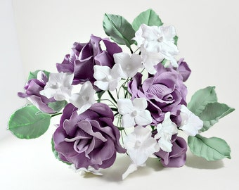 Flower cake topper, Floral spray, Roses and hydrangeas cake flowers, Wedding cake decorations in lavender and white, Summer wedding flowers