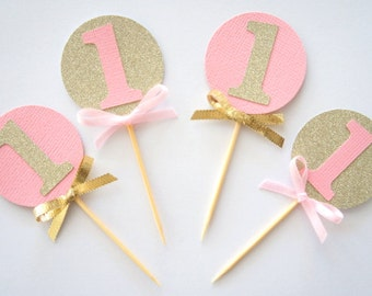Set of 12 pink and gold glitter cupcake toppers- personalised- custom- first birthday- baby shower- age- 1st birthday